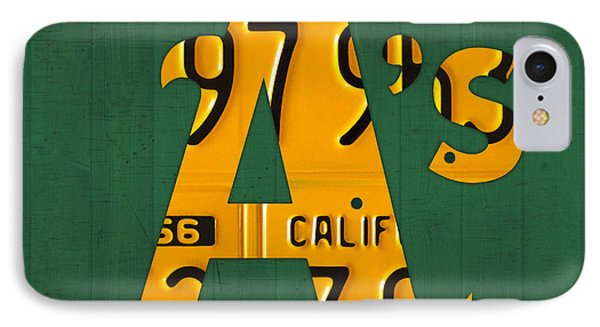 Oakland Athletics Vintage Baseball Logo License Plate Art IPhone Case