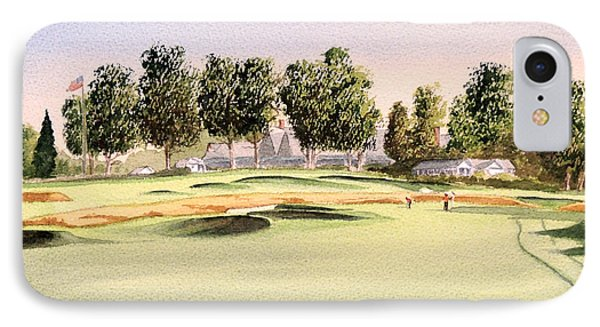 IPhone Case featuring the painting Oakmont Golf Course 14th by Bill Holkham