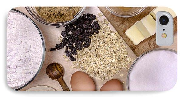 Oatmeal Raisin Cookie Ingredients IPhone Case by Teri Virbickis