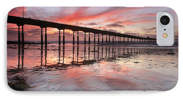 Ob Pier Reflection Sunset IPhone Case by Scott Cunningham