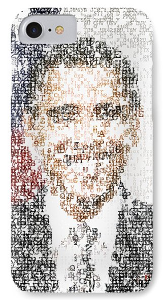 Obama Typographic Portrait IPhone Case by Celestial Images