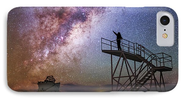Observer Pointing At The Milky Way IPhone Case by Babak Tafreshi