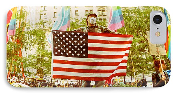 Occupy Wall Street Protester Holding IPhone Case by Panoramic Images