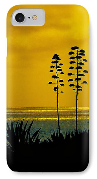Ocean Sunset With Agave Silhouette IPhone Case by Ben and Raisa Gertsberg