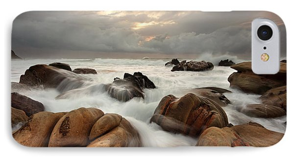 Ocean Surges Over Weathered Rocks IPhone Case by Leah-Anne Thompson