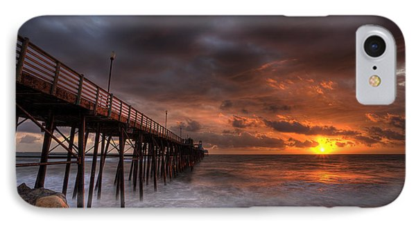 Oceanside Pier Perfect Sunset IPhone Case by Peter Tellone