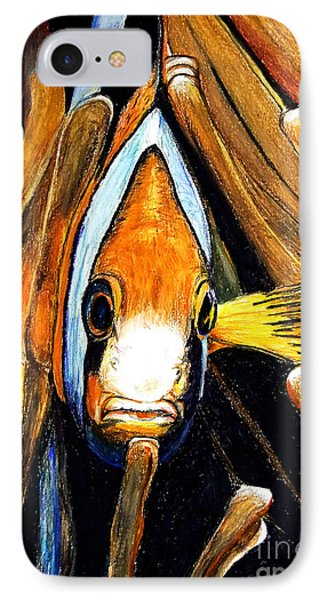 IPhone Case featuring the drawing Ocellaris Clownfish by Daniel Janda
