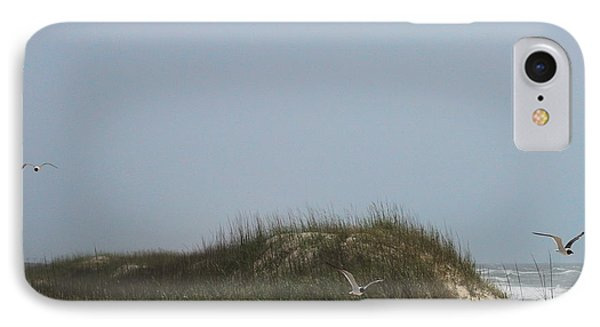Ocracoke Dunes And Gulls Phone Case by Cathy Lindsey