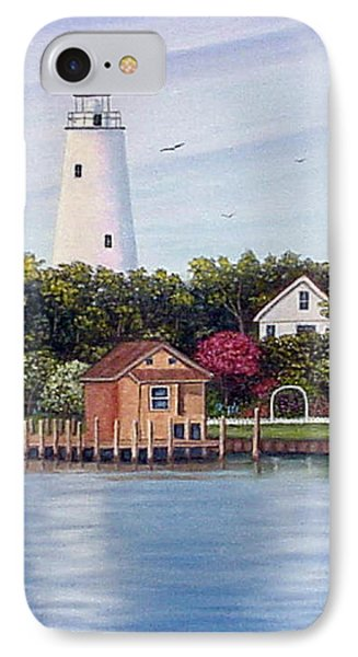 IPhone Case featuring the painting Ocracoke Island Light by Fran Brooks