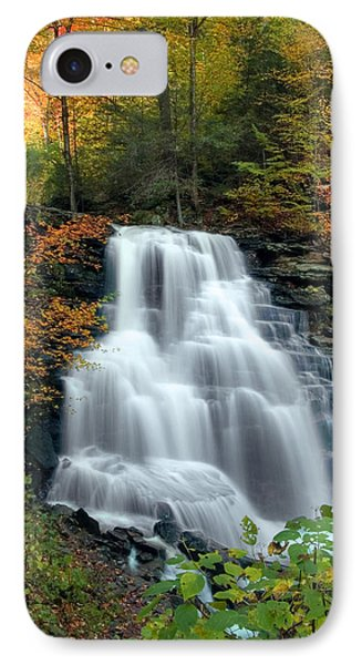 IPhone Case featuring the photograph October Foliage Surrounding Erie Falls by Gene Walls