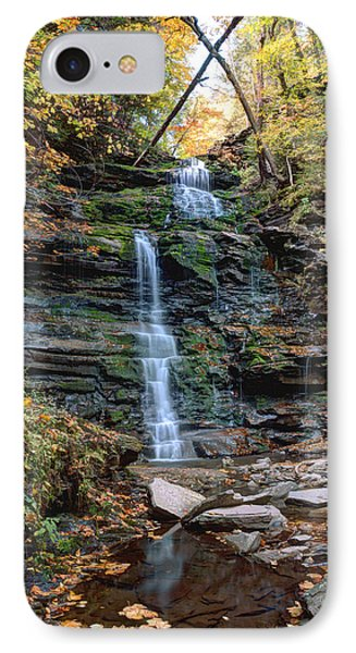 IPhone Case featuring the photograph October Foliage Surrounds Ganoga Falls by Gene Walls