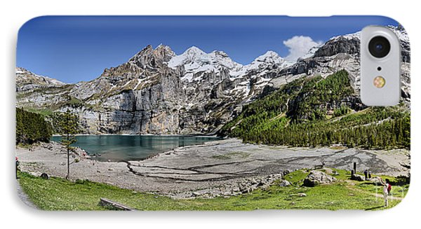 IPhone Case featuring the photograph Oeschinen Lake by Carsten Reisinger