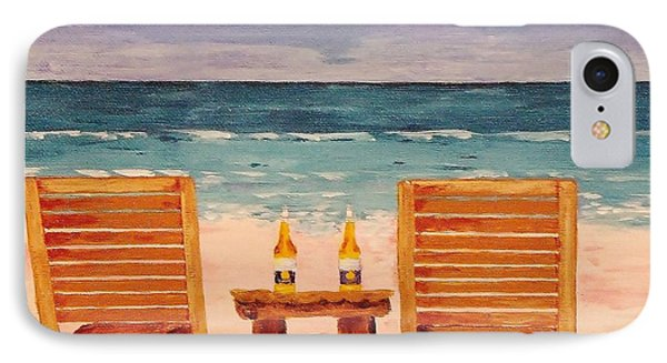 Two Corona's And A Beach IPhone Case by Mike Caitham