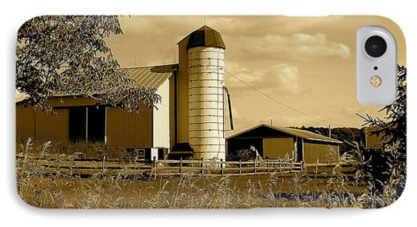 Ohio Farm In Sepia Phone Case by Frozen in Time Fine Art Photography