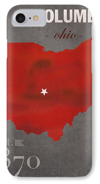 Ohio State University Buckeyes Columbus Ohio College Town State Map Poster Series No 005 IPhone Case by Design Turnpike