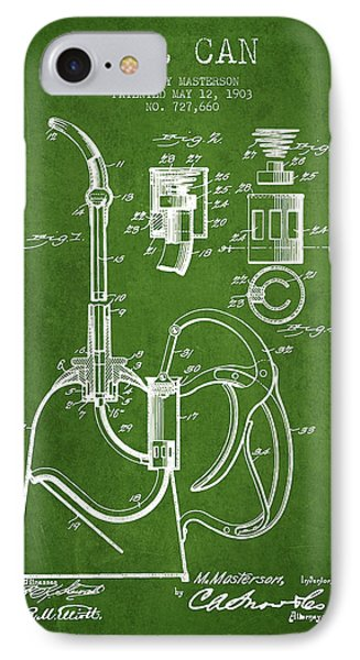 Oil Can Patent From 1903 - Green IPhone Case by Aged Pixel