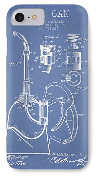 Oil Can Patent From 1903 - Light Blue IPhone Case by Aged Pixel