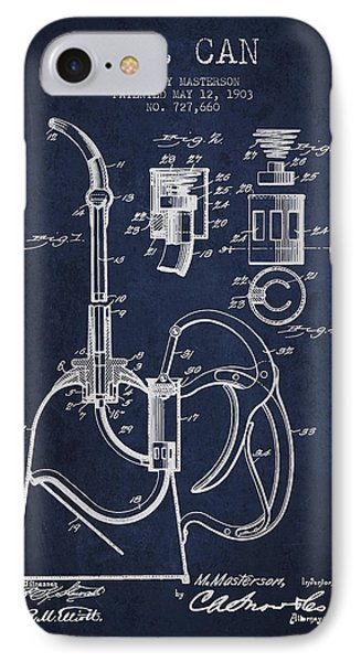 Oil Can Patent From 1903 - Navy Blue IPhone Case by Aged Pixel