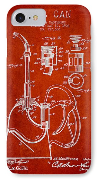 Oil Can Patent From 1903 - Red IPhone Case by Aged Pixel