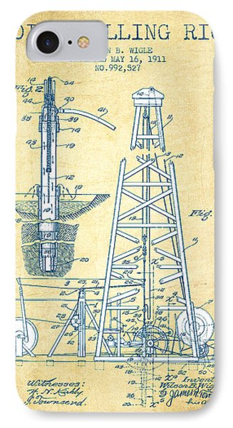 Oil Drilling Rig Patent From 1911 - Vintage Paper IPhone Case