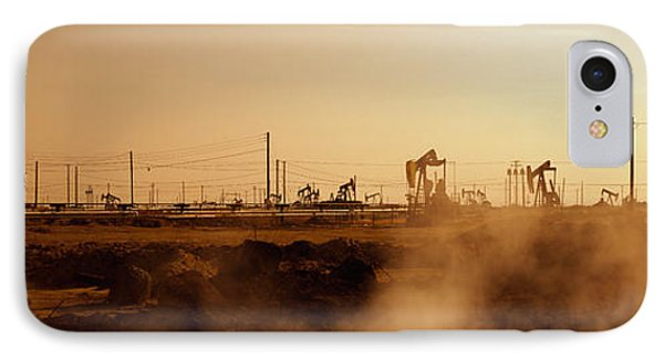 Oil Drills In A Field, Maricopa, Kern IPhone Case by Panoramic Images