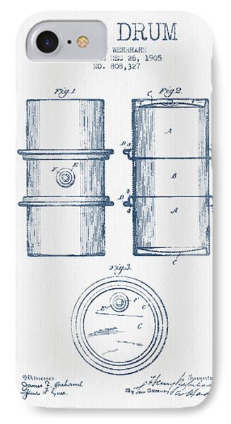 Drum iPhone 7 Case - Oil Drum Patent Drawing From 1905 -  Blue Ink by Aged Pixel