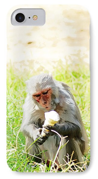 Oil Painting - A Monkey Eating An Ice Cream IPhone Case by Ashish Agarwal