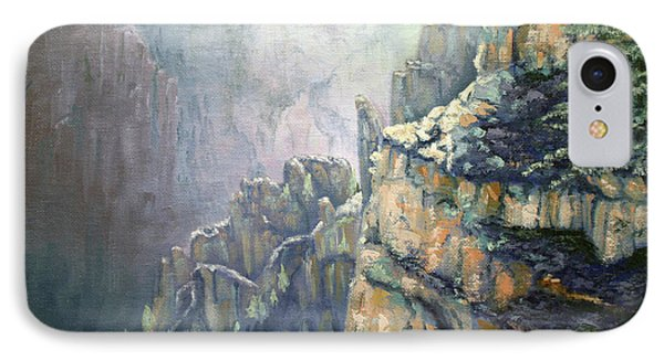 Oil Painting - Majestic Canyon IPhone Case by Roena King