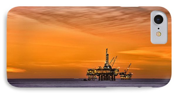 Oil Platform At Sunset  IPhone Case by Peter Dang