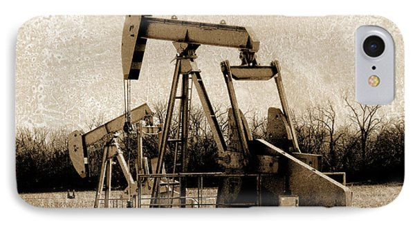 Oil Pump Jack In Sepia Phone Case by Ann Powell