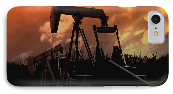 Oil Pump Jack With Colorful Sky IPhone Case