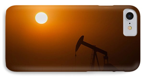 Oil Rig Pumping At Sunset Phone Case by Connie Cooper-Edwards