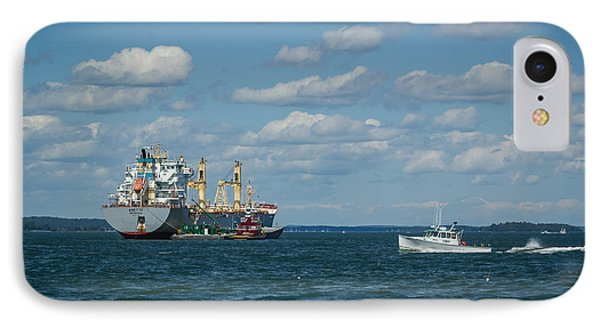 IPhone Case featuring the photograph Oil Tanker And Lobster Boat by Jane Luxton