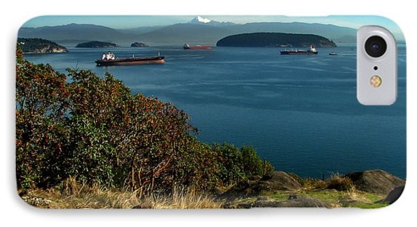 Oil Tankers Waiting Phone Case by Robert Bales