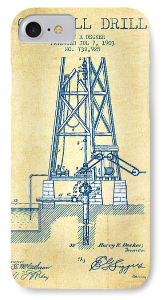Oil Well Drill Patent From 1903 - Vintage Paper IPhone Case