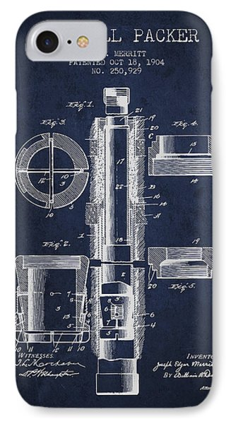 Oil Well Packer Patent From 1904 - Navy Blue IPhone Case