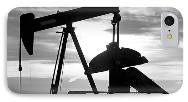 Oil Well Pump Jack Black And White Phone Case by James BO  Insogna