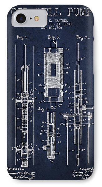 Oil Well Pump Patent From 1900 - Navy Blue IPhone Case by Aged Pixel