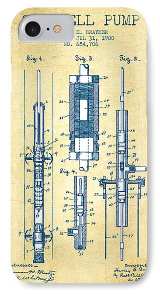 Oil Well Pump Patent From 1900 - Vintage Paper IPhone Case