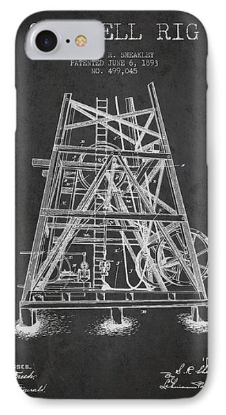 Oil Well Rig Patent From 1893 - Dark IPhone 7 Case by Aged Pixel