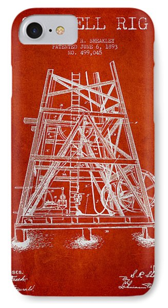Oil Well Rig Patent From 1893 - Red IPhone Case by Aged Pixel