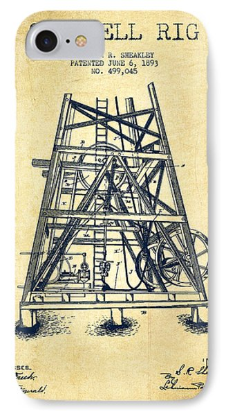 Oil Well Rig Patent From 1893 - Vintage IPhone 7 Case by Aged Pixel