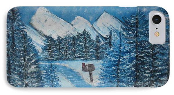 IPhone Case featuring the painting Oils On Canvas Blue Winter by Margaret Newcomb