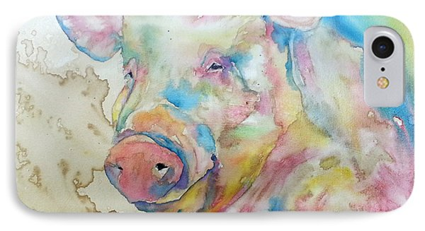 IPhone Case featuring the painting Oink by Christy  Freeman
