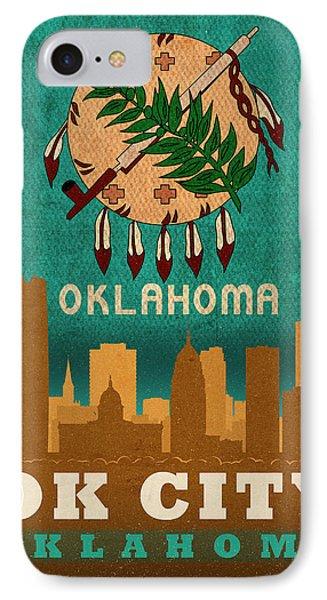 Oklahoma City Skyline Flag Of Oklahoma Art Poster Series 002 IPhone Case