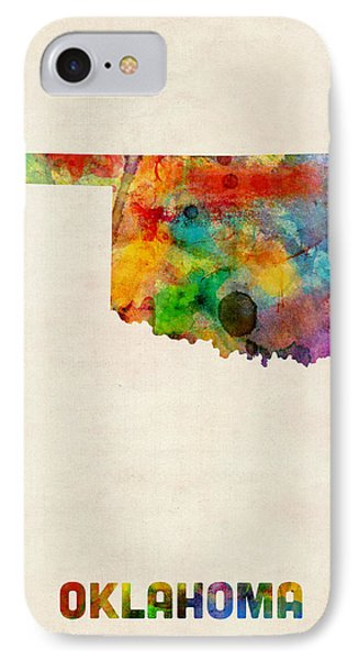 Oklahoma Watercolor Map IPhone Case by Michael Tompsett