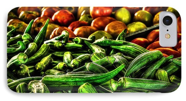 Okra And Tomatoes IPhone Case by David Morefield