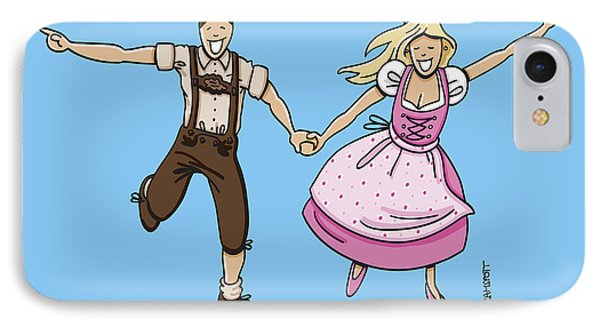 Oktoberfest Couple Dancing Together Phone Case by Frank Ramspott