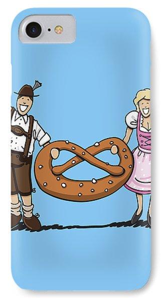Oktoberfest Couple With Large Pretzel IPhone Case by Frank Ramspott