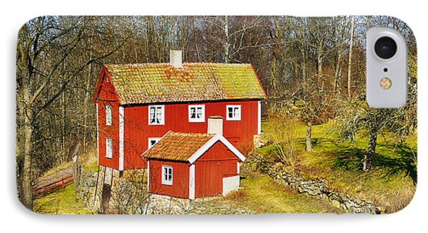 Old 17th Century Cottage Set In Rural Nature Landscape IPhone Case by Christian Lagereek